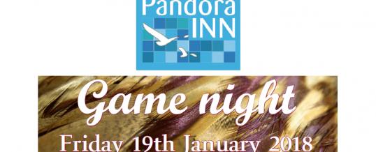 Game Night menu – 19th January